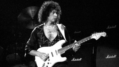 NEW YORK CITY, NY - MARCH 19: Richie Blackmore of Rainbow performs at Madison Square Garden on March 19 1984 in New York City, New York.  (Photo by Larry Marano/Getty Images)